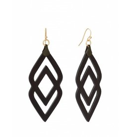Deco Drama Leather Earrings Black