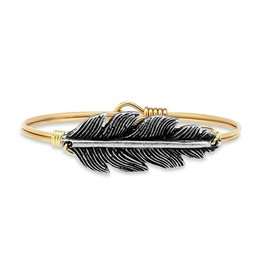 Luca & Danni Lucky Feather on Brass Ox Wire Wrapped Bracelet