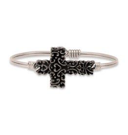 Luca & Danni Ornate Cross Silver Wire Bracelet