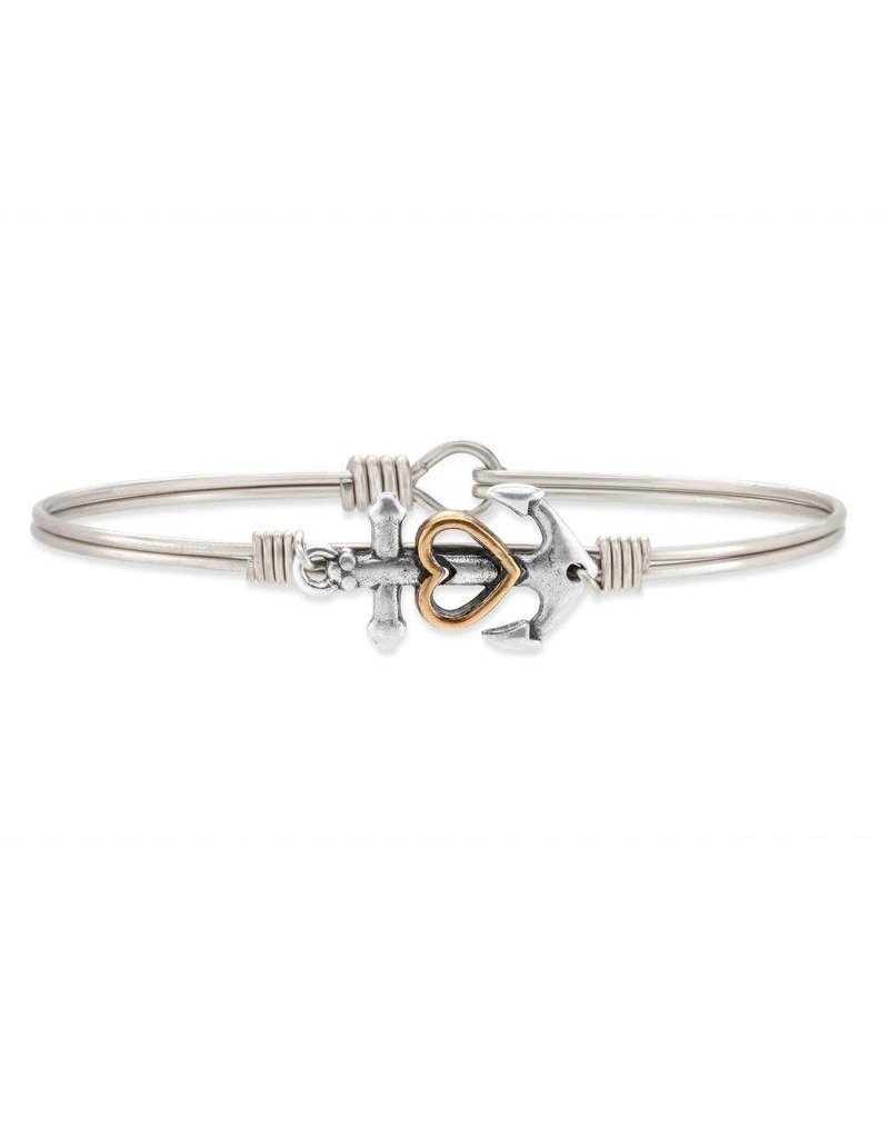 Luca & Danni Anchor with Heart Silver Wire Bracelet