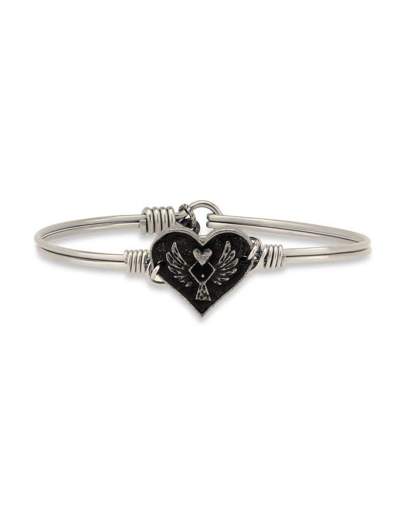 Luca & Danni Angel Heart Silver Wire Bracelet