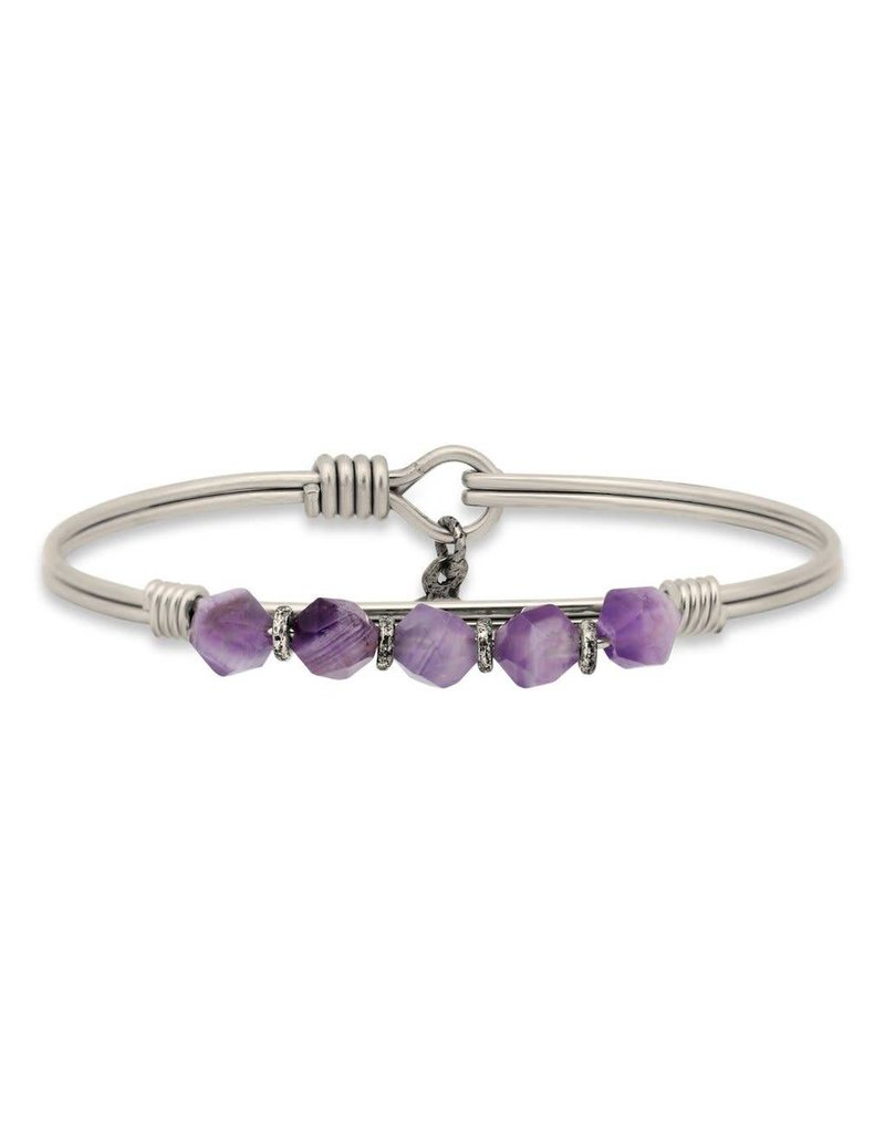 Luca & Danni Amethyst Beaded Silver Wire Wrapped Bracelet