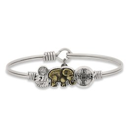 Luca & Danni Buddha Elephant Coin Silver Wire Wrapped Bracelet