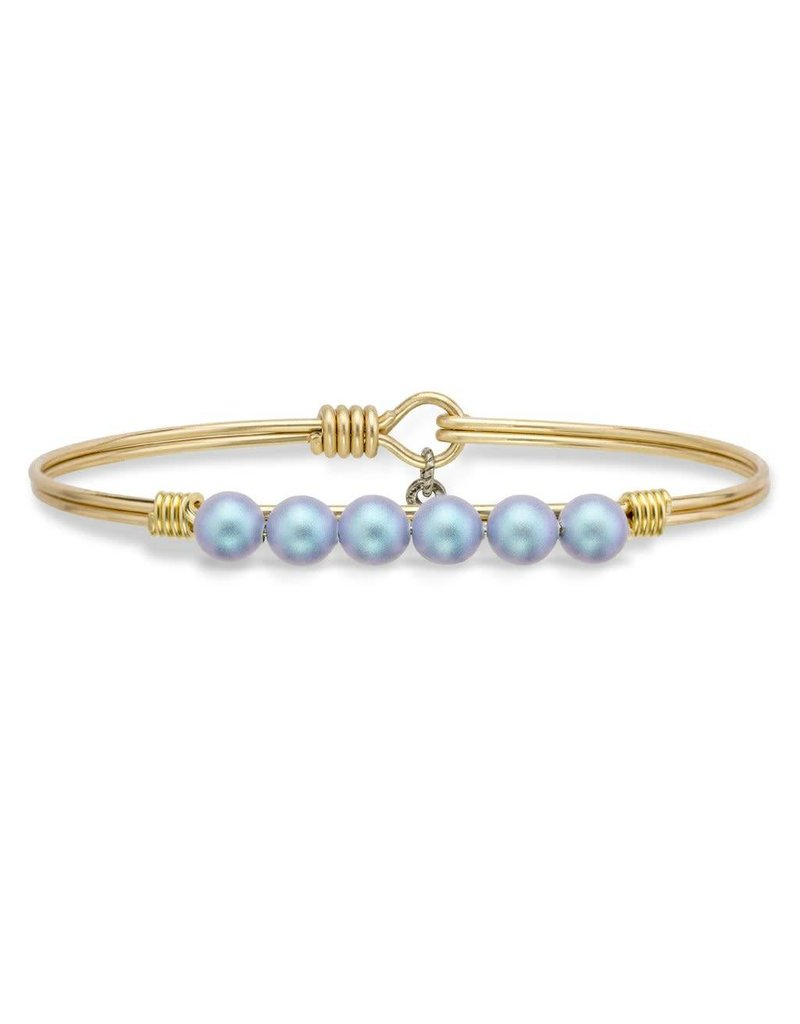 Luca & Danni Aqua Pearl on Brass Ox Wire Wrapped Bracelet