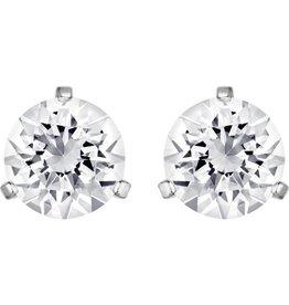 Swarovski Solitaire: Pierced Earrings, White, Rhodium Plating