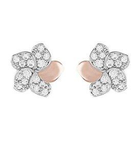Swarovski Cute Pierced Earrings Flower, White, Mixed Plating