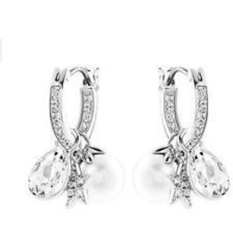 Swarovski Canvas Pierced Earrings Hoops, White, Rhodium Plating
