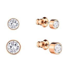 Swarovski Harley Medium Post Earring, White, Rose Gold Plating