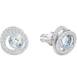 Swarovski Generation Pierced Earrings, Blue, Rhodium Plating