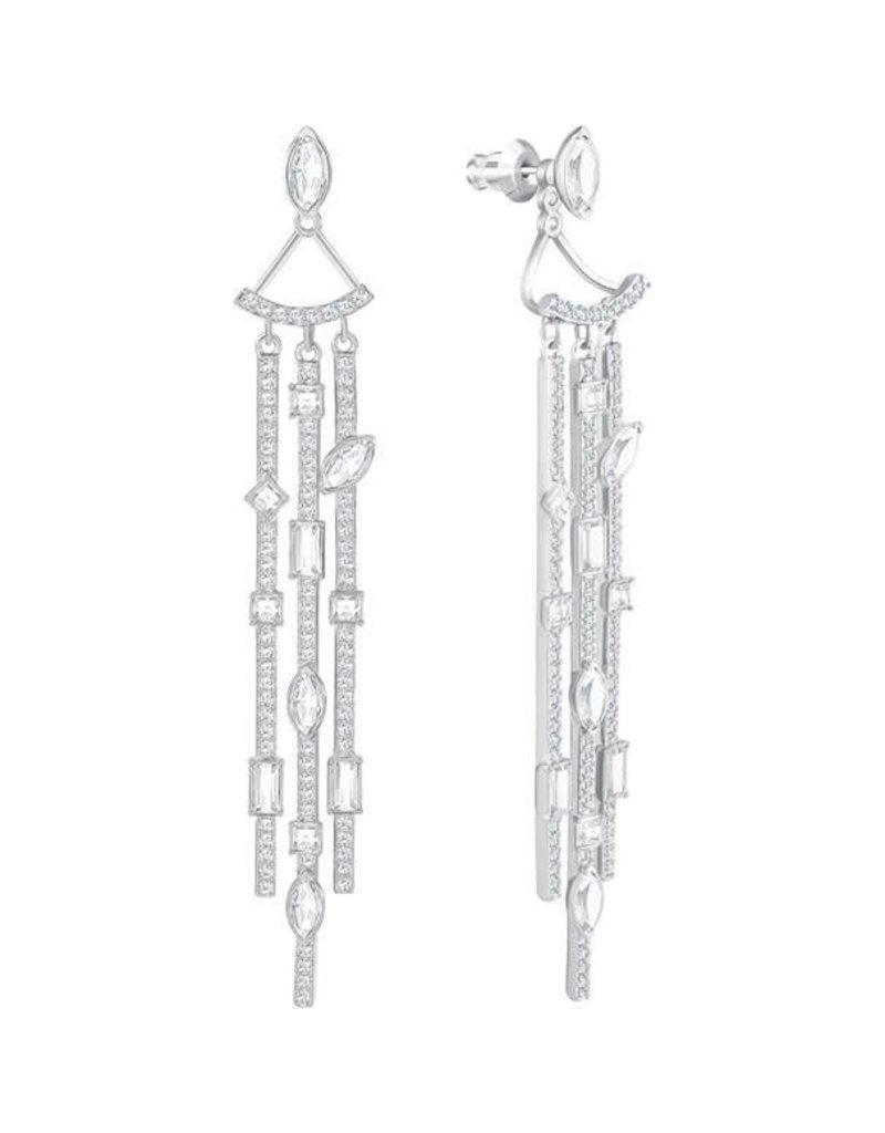 Swarovski Henrietta Jacket Pierced Earrings, White, Rhodium Plating