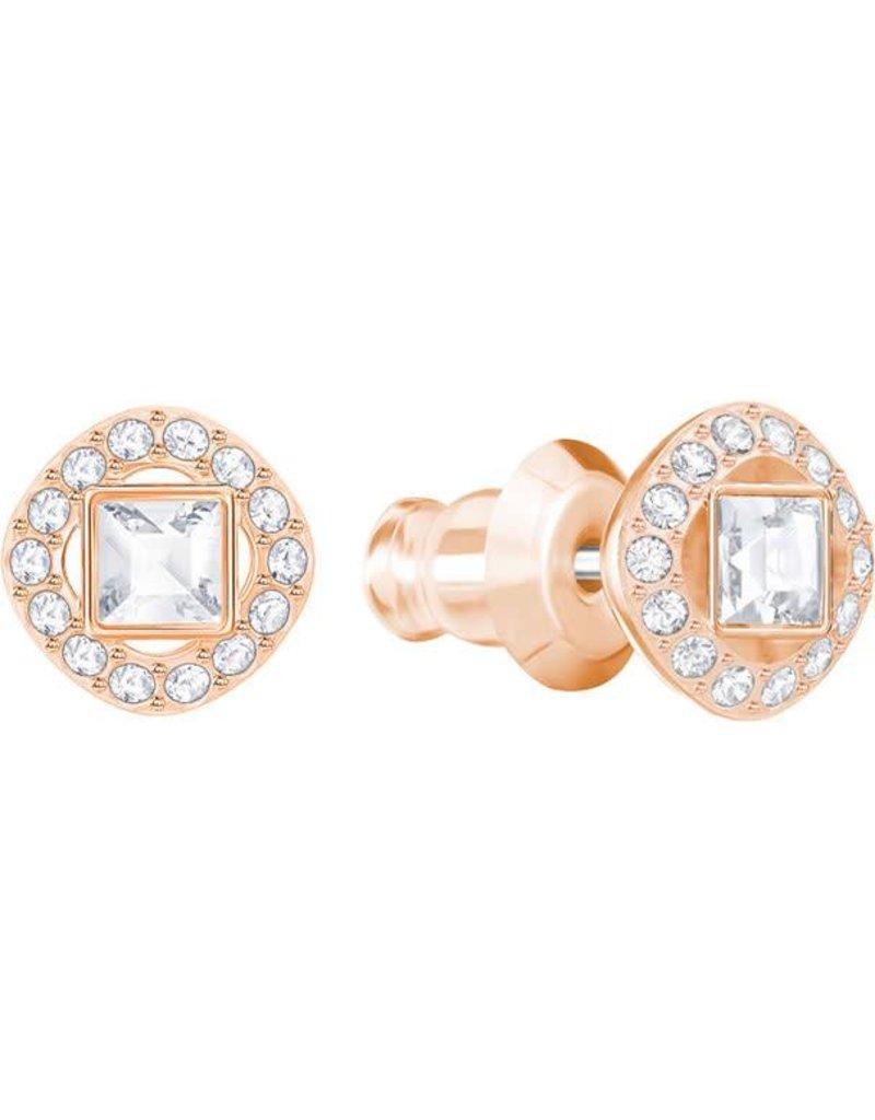 Swarovski Angelic Square Pierced Earrings, White, Rose Gold Plating