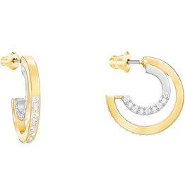 Swarovski Circle Hoop Pierced Earrings, Small, White, Mixed Plating