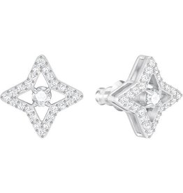 Swarovski Sparkling Dance Star Stud Pierced Earrings, White, Rhodium Plating