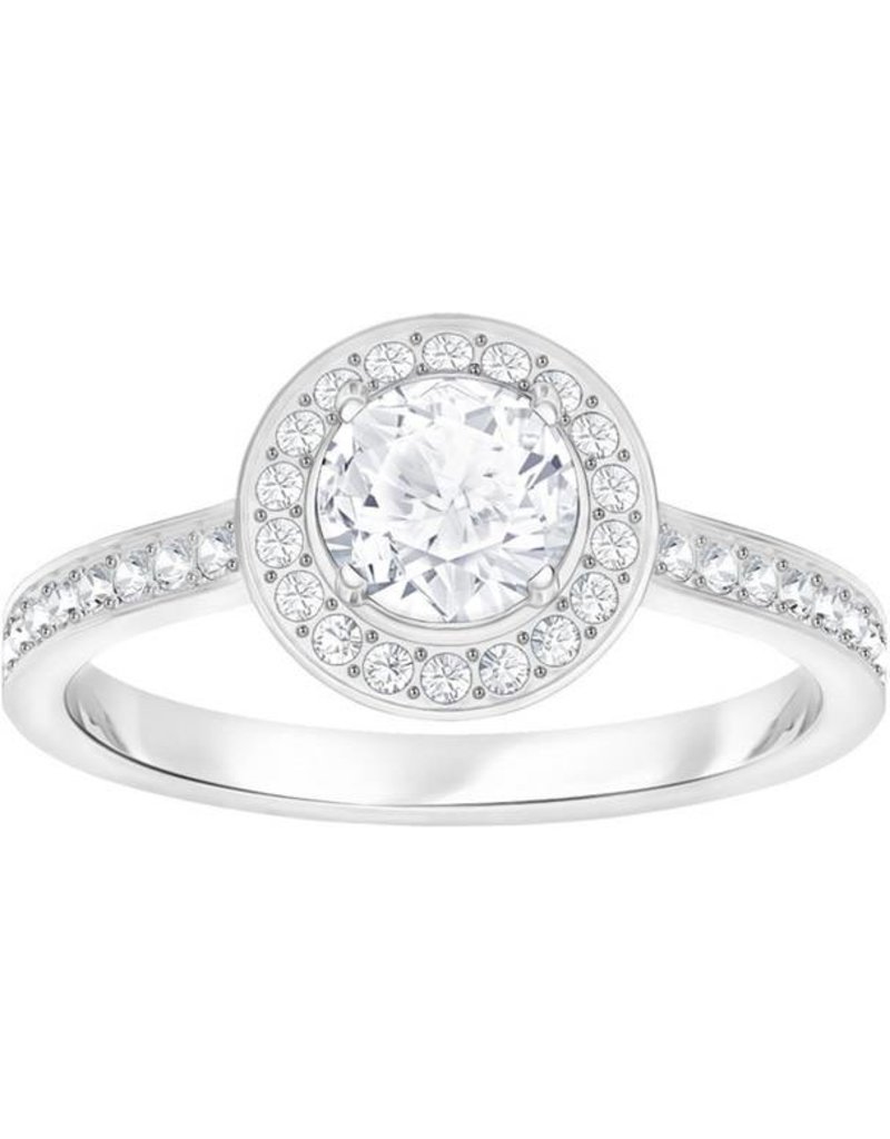 Swarovski Attract Light Round Ring, White, Rhodium Plating 55 (US 7)