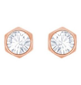 Swarovski Hexa Pierced Earring, White, Rose Gold Plating