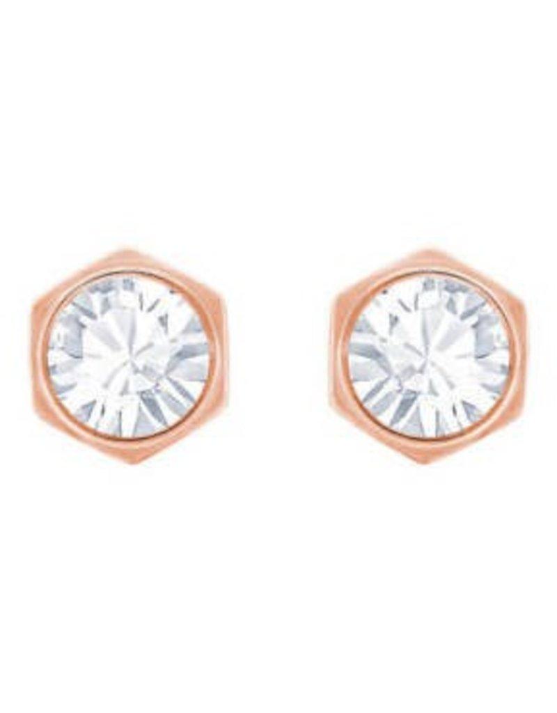 Swarovski Hexa Pierced Earring, White, Rose Gold Plating