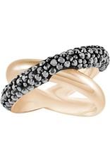 Swarovski Crystaldust Cross Ring, Black, Rose Gold Plating 60 (US 9)