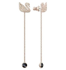 Swarovski Iconic Swan Pierced Earrings, Black, Rose Gold Plating