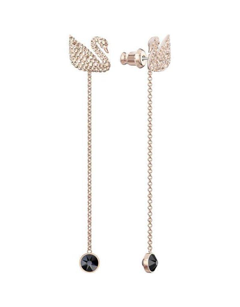 568e230ac Swarovski Iconic Swan Pierced Earrings, Black, Rose Gold Plating ...
