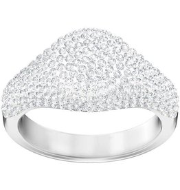 Swarovski Stone Signet Ring, White, Rhodium Plating 55 (US 7)