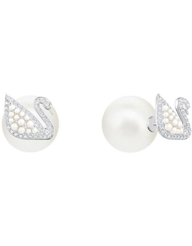 Swarovski Iconic Swan Pearl Stud Pierced Earrings, White, Rhodium Plating