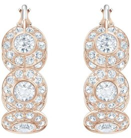 Swarovski Angelic Hoop Pierced Earrings, White, Rose Gold Plating