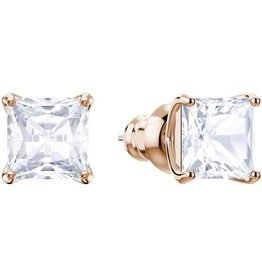 Swarovski Attract Stud Pierced Earrings, White, Rose Gold Plating