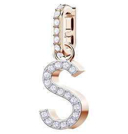 Swarovski Charm Alphabet S, White, Rose Gold Plating