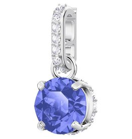 Swarovski September Birthstone Charm, Dark Blue, Rhodium Plating