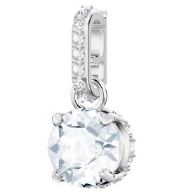 Swarovski April Birthstone Charm, White, Rhodium Plating