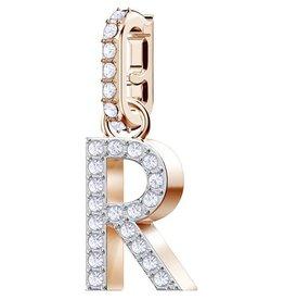 Swarovski Charm Alphabet R, White, Rose Gold Plating
