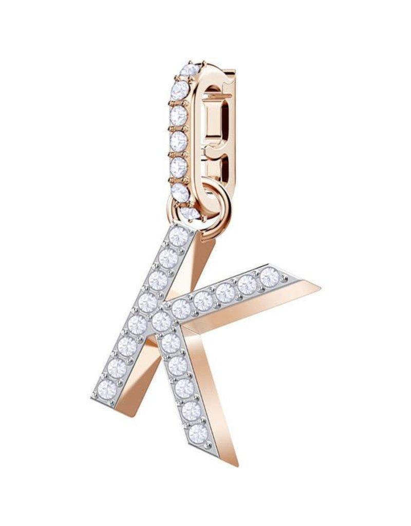 Swarovski Charm Alphabet K, White, Rose Gold Plating