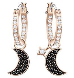Swarovski Duo Moon Hoop Pierced Earrings, Black, Rose Gold Plating