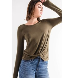 Z Supply The Twist Front Long Sleeve Tee, Olive Night