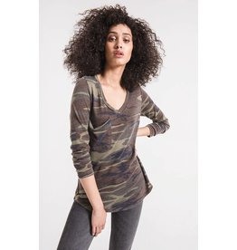 Z Supply Camo Long Sleeve Tee, Green