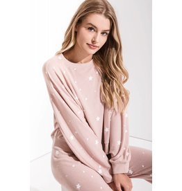 Z Supply The Lux Star Pullover Crew, Silver Peony