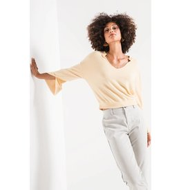 Z Supply Sweater Knit Notch Front, Yellow Cream