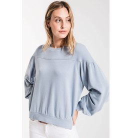Z Supply The Elizabeth Pullover Fleece, Dusty Blue