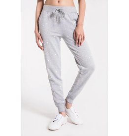 Z Supply The Star Print Jogger, Heather Grey/White