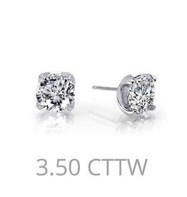 Lafonn Sterling Silver Platinum Stud Earrings, Lassaire 2 Stone 3.5 CTTW