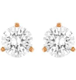 Swarovski Solitaire Pierced Earrings, White, Rose Gold Plating