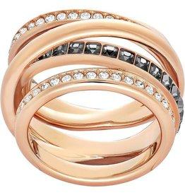 Swarovski Dynamic Ring, Gray, Rose Gold Plating 58 (US 8)