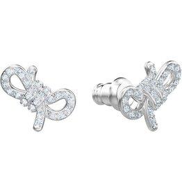 Swarovski Lifelong Bow Pierced Earrings Small , White, Rhodium Plating