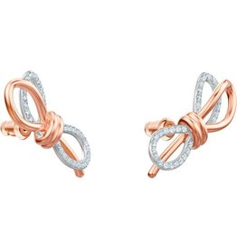 Swarovski Lifelong Bow Earrings, White, Mixed Plating