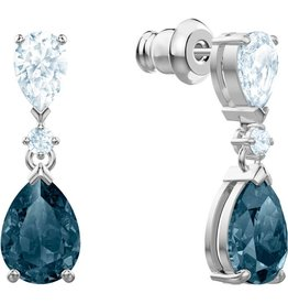 Swarovski Vintage Pierced Earrings, Blue, Rhodium Plating