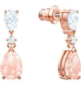 Swarovski Vintage Pierced Earrings, Pink, Rose Gold Plating