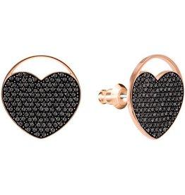 Swarovski Ginger Stud Earrings Heart, Gray, Rose Gold Plating
