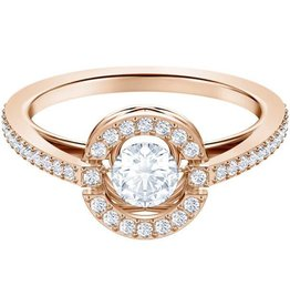 Swarovski Sparking Dance Round Ring, White, Rose Gold Plating 52 (US 6)