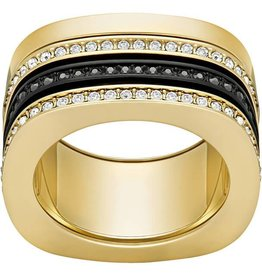 Swarovski Vio Ring, Black/White, Mixed Plating