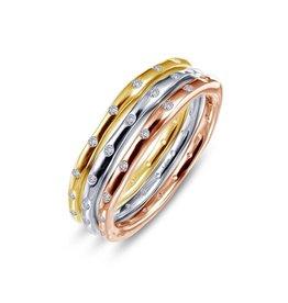 Lafonn Tri Color Stackable Ring Set .54 CTTW